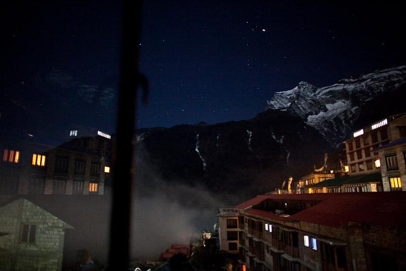 Namche Bazaar at night.